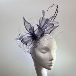 13967 Pretty Argento Purple Mother of the Bride/Groom fascinator SD 646/7